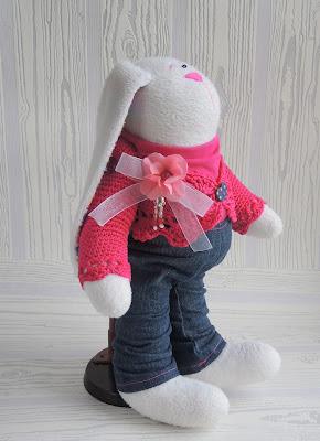 hare, rabbit, заяц, textile toy, toy, hand made, gift girl, текстильная игрушка, игрушка, руками сделано, подарок девушке, зайка, игрушки ручной работы, хендмэйд, трикотаж, флис, мятный цвет, вязание на спицах, для малышей, изнанка вязания, knitting, crocheting, knit, crochet