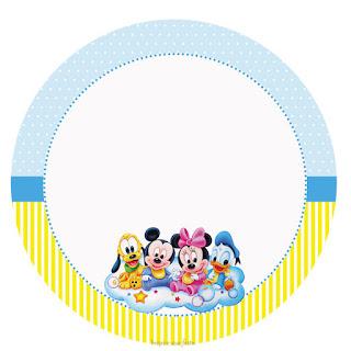 Toppers o Etiquetas para Imprimir Gratis de Bebés Disney en Celeste y Amarillo.