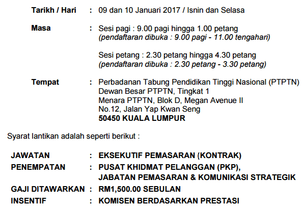 Temuduga Terbuka PTPTN 2017