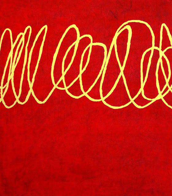 Moderne Malerei in Rot mit Acryl und Blattgold auf Leinwand