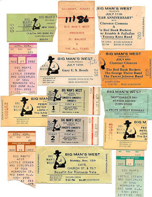 Ticket stub collection from Big Man's West