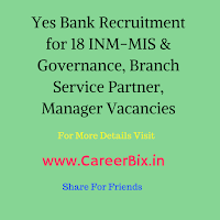 Yes Bank Recruitment for 18 INM-MIS & Governance, Branch Service Partner, Manager Vacancies