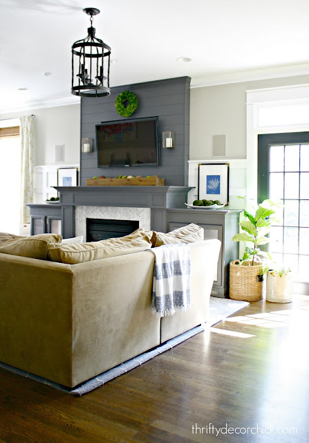 dark gray fireplace with built ins