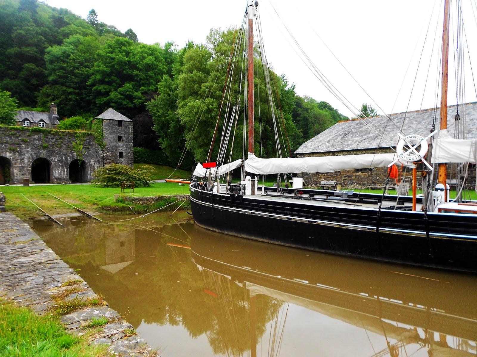 "alt=""shamrock tamar sailing barge at cotehele quay"""