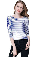 blue and white striped boatneck top