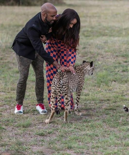 Photos: Newlyweds BankyW and Adesua play with cheetahs