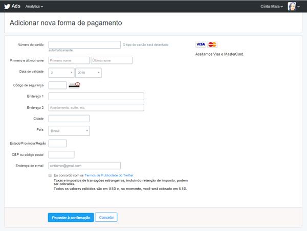 Twitter Ads - Adicionar nova forma de pagamento.