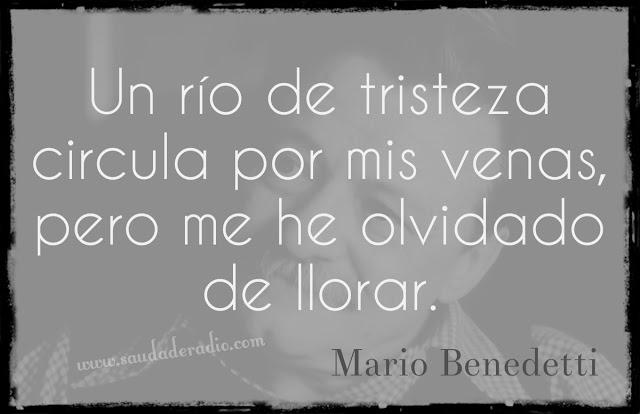 """""""Un río de tristeza circula por mis venas, pero me he olvidado de llorar."""" Mario Benedetti - Buzón de tiempo"""