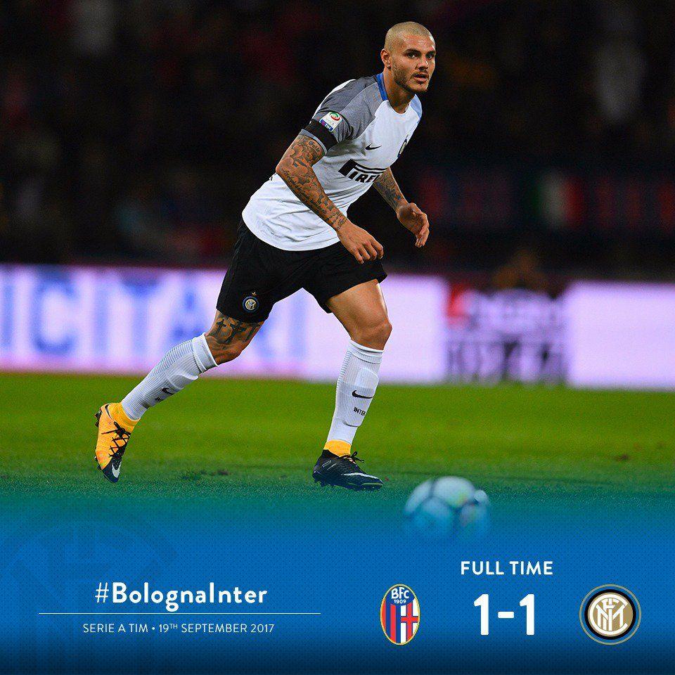 Serie A, Inter bloccata a Bologna: Icardi pareggia su rigore. Domani Napoli e Juve tentano l'allungo in classifica