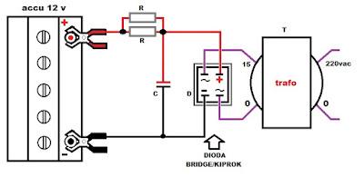 Charger menggunakan travo Non Ct dengan diode kiprok