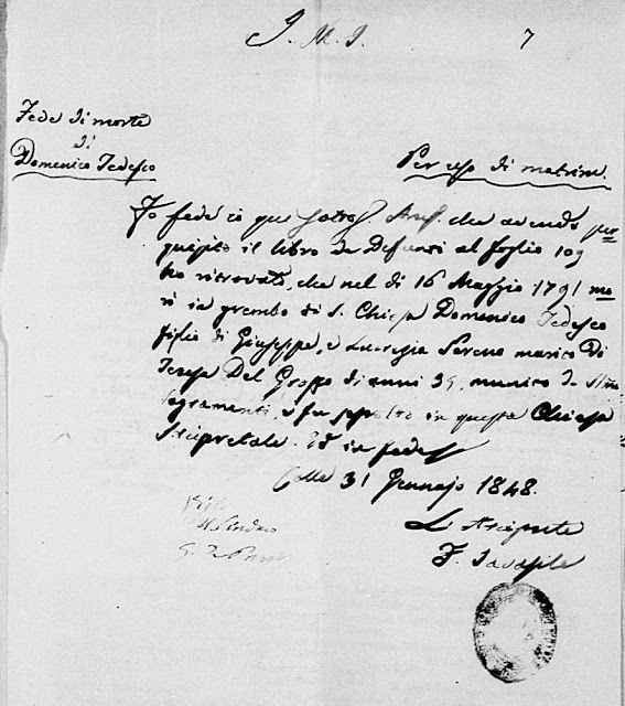 A 1791 church death record found within 1848 marriage documents.