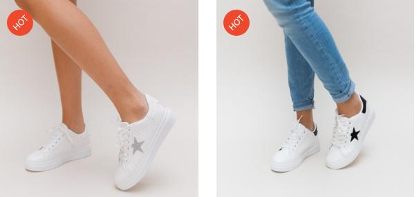 Adidasi dama ieftini albi simpli moderni