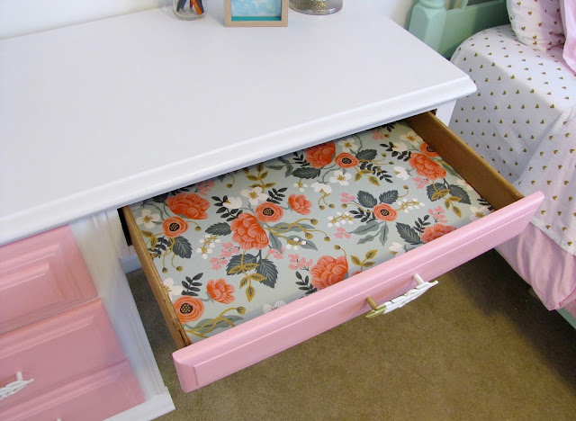 paper lined drawers for kids chalk painted desk makeover