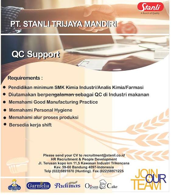 Lowongan Kerja QC Support PT Stanli Trijaya Mandiri