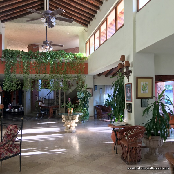 lobby at Hotel Garza Canela in San Blas, Mexico