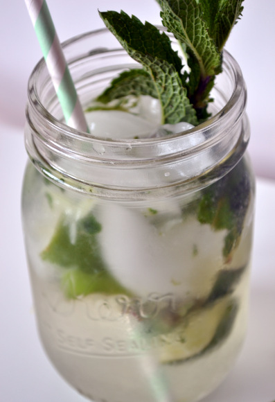 Mojito mint drink in mason jar