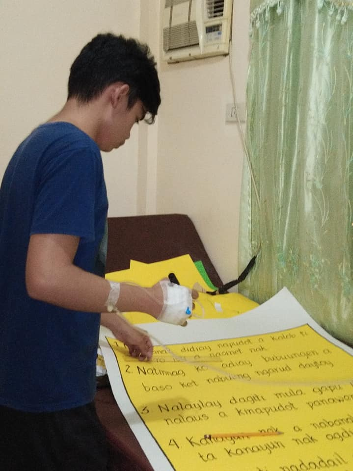 Student works hard on final demo, even while confined at hospital