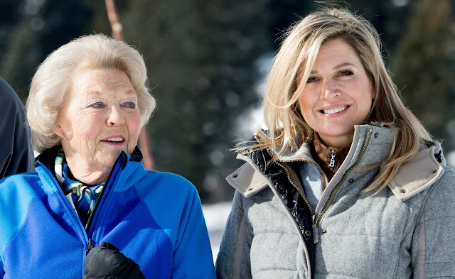 Queen Maxima of the Netherlands, King Willem-Alexander of the Netherlands, Princess Alexia, Princess Ariane and Princess Catharina-Amalia at the annual winter photocall in Lech, Austria
