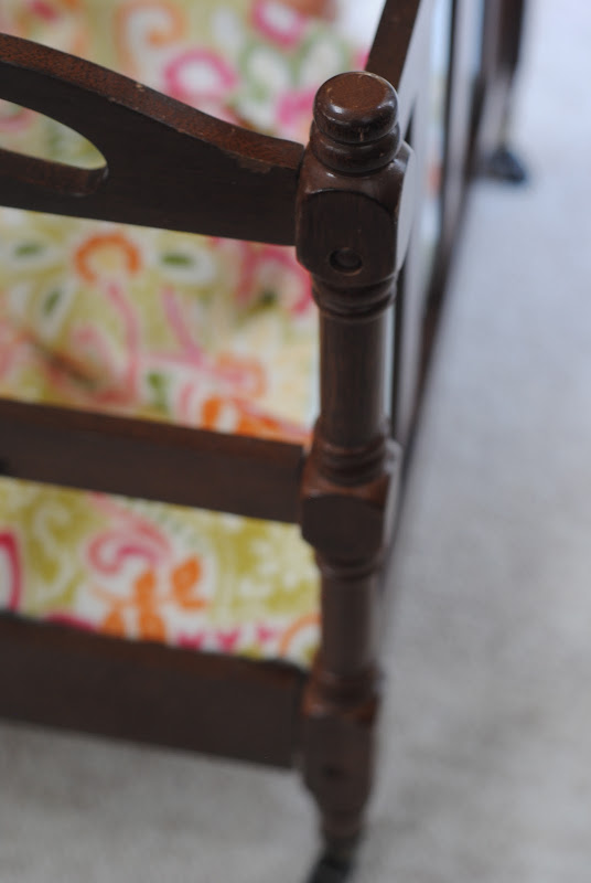 DIY doll crib from a thrift store magazine rack (doll furniture)