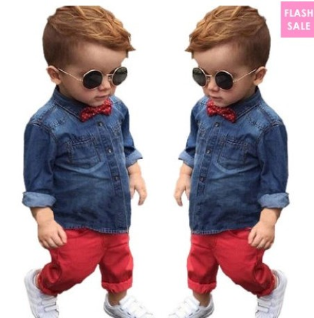 Denim T-Shirt Bowknot Ornament Red Pants Sets (age 1-7 years old)– price:US$ 14.76