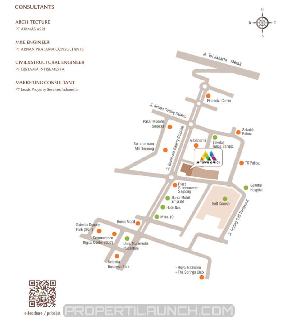 Peta Lokasi M-Town Office Tower 1 Gading Serpong