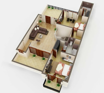 two bedroom apartment design - 3D floor plans