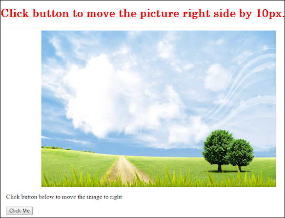 javascript move image across screen by 10px before