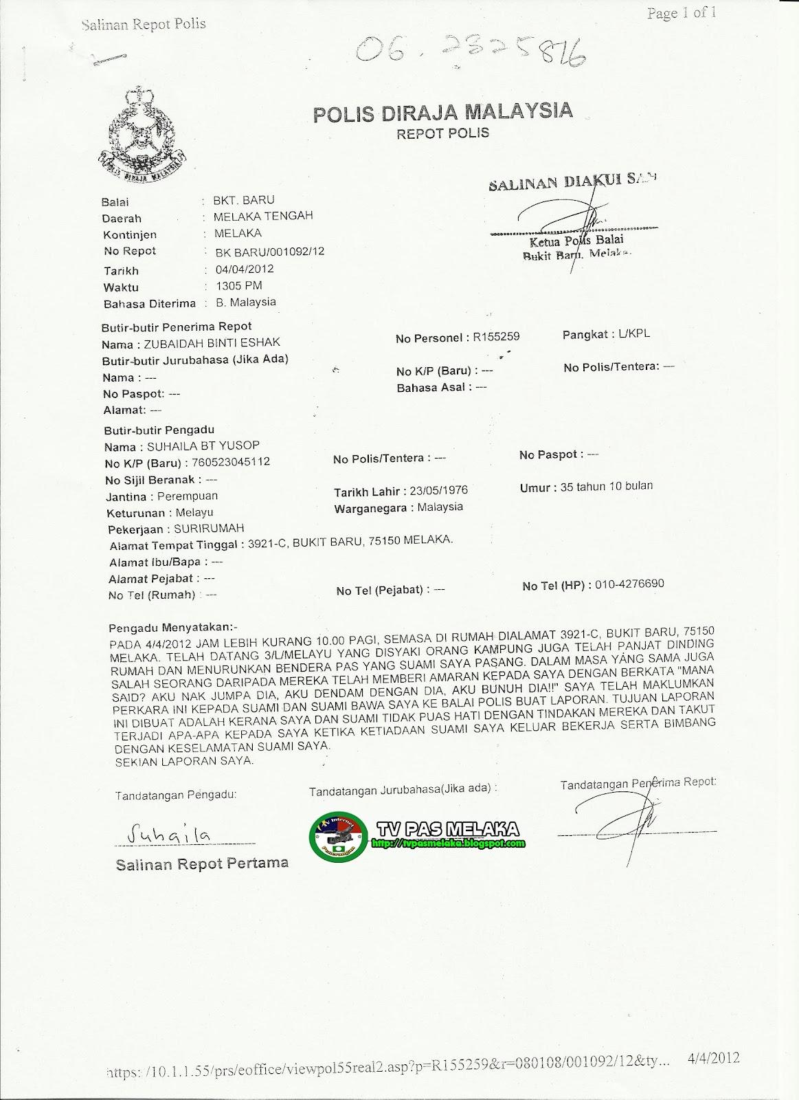 Penyelia Dun Bukit Baru Ugut Bunuh Dari Umno