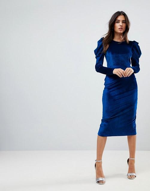 Asos - Vestito longuette in velluto blu | 15 Vestiti per Capodanno 2018