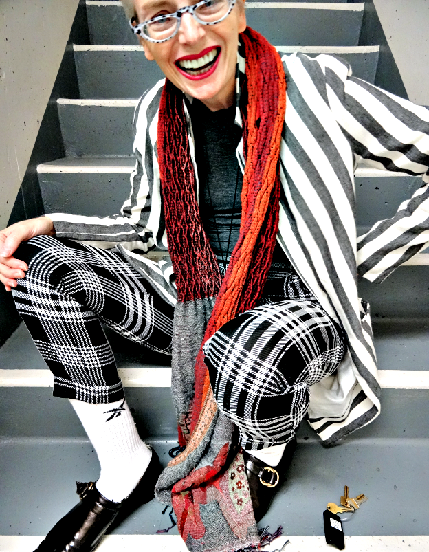 Mel Kobayashi in plaid and stripes, Bag and a Beret