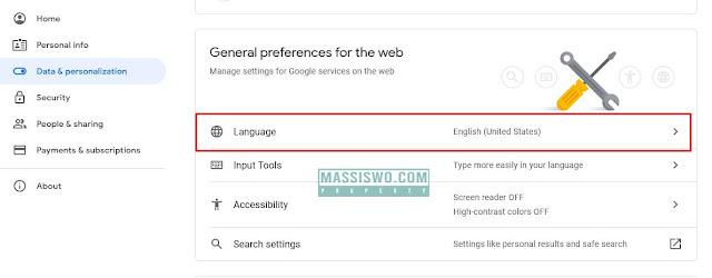 menu mengubah bahasa di akun google
