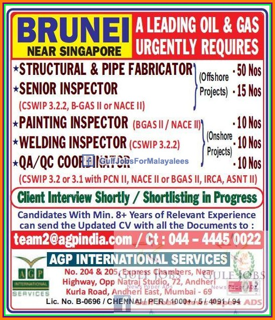 Oil & Gas jobs for Brunei - Gulf Jobs for Malayalees