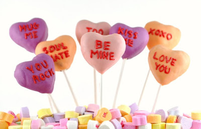 Conversation heart cake pops on a stick
