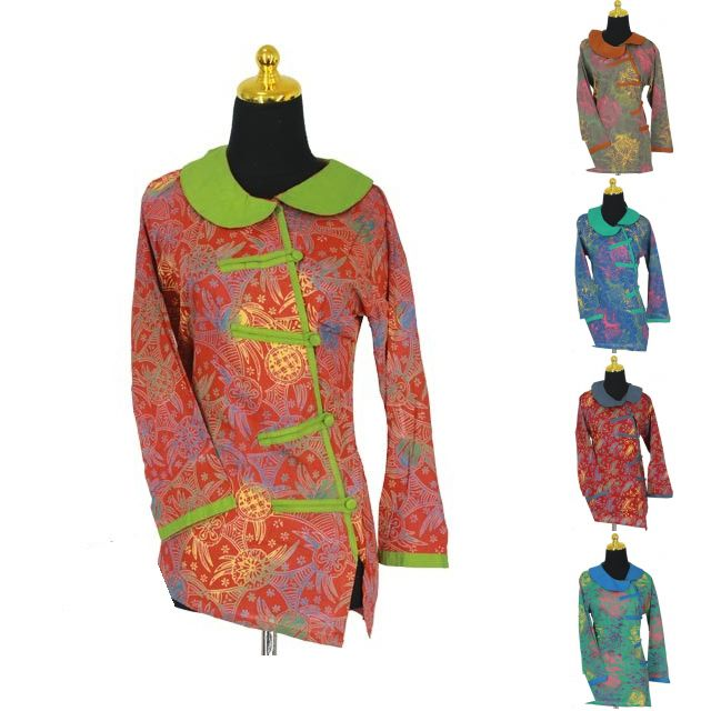 Model Kemeja Batik Wanita Kancing Samping Modern