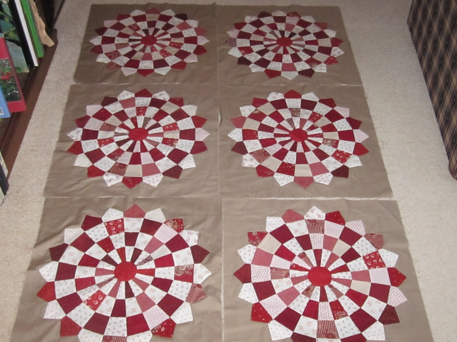 Mother Patchwork Red And White Dresden Quilt Finished