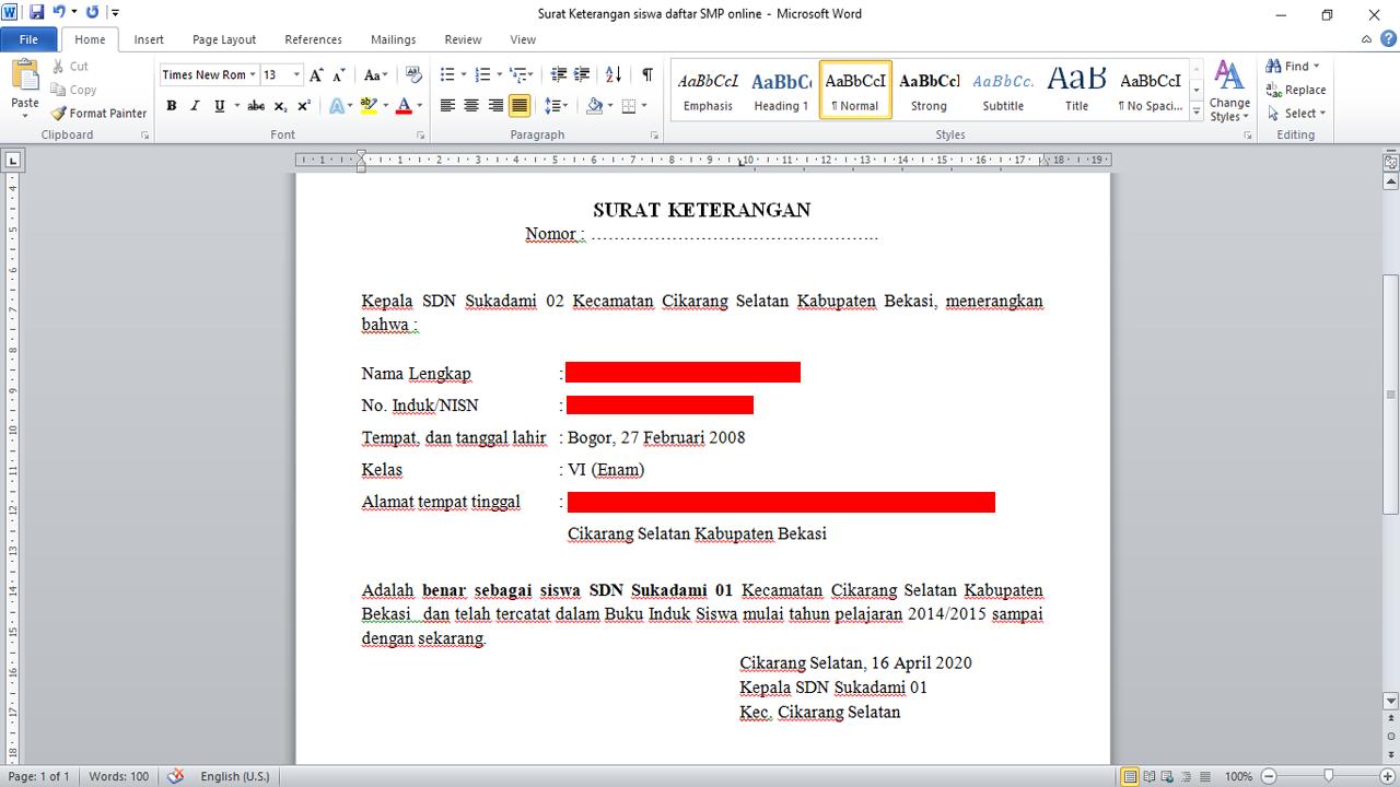 Format Surat Keteranga Siswa Aktif Sekolah
