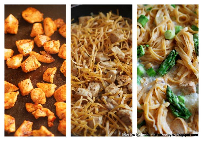 makaron z miesem i szparagami, kurczak, szparagi, szybki obiad, szybkie danie obiadowe, obiad w pol godziny, co dzis na obiad