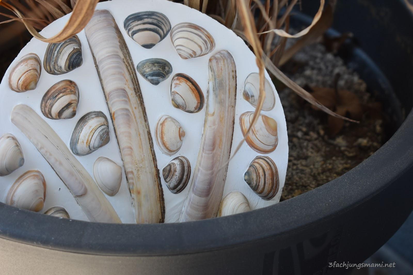 Bevorzugt Basteln mit Muscheln - DIY Dekoplatten für den Garten BI12