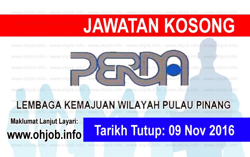 Jawatan Kerja Kosong Lembaga Kemajuan Wilayah Pulau Pinang (PERDA) logo www.ohjob.info november 2016