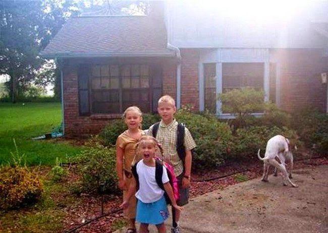 lustiges Bild: Kinder und Hunde im Hintergrund