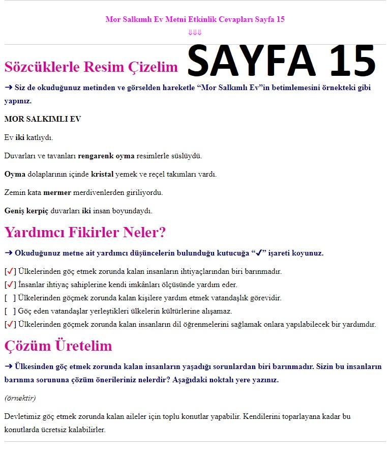 7. Sınıf Türkçe Çalışma Kitabı Cevapları Ders Destek sayfa 15
