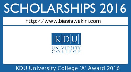 KDU University College 'A' Award 2016