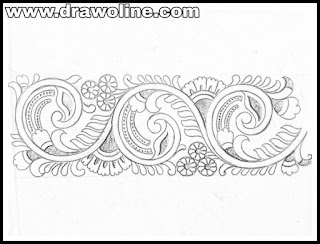 Top 5 latest pattern sketch for saree borders designs for embrodiary.saree design drawing and sketch on tracing paper with pencil,border design patterns for hand emroidery.