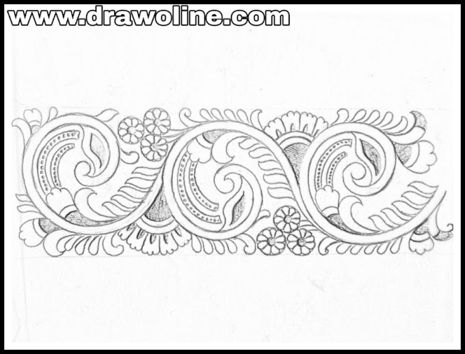 Saree border design drawing for embroidery/tracing transferring design drawing for saree border.
