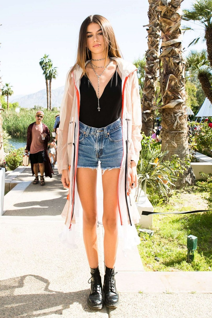 Kaia Gerber wears plunging top to the Revolve Coachella party in Indio
