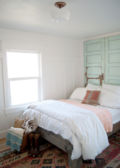 Farmhouse Master Bedroom Reveal - door headboard, kilim rug & pillow