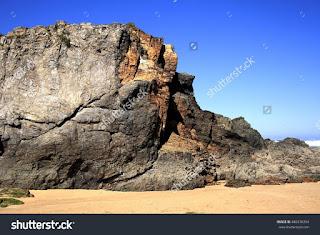 geometric composition of cliffs, A Frouxeira beach, Valdoviño, A Coruña, Galicia, Spain, Geology,