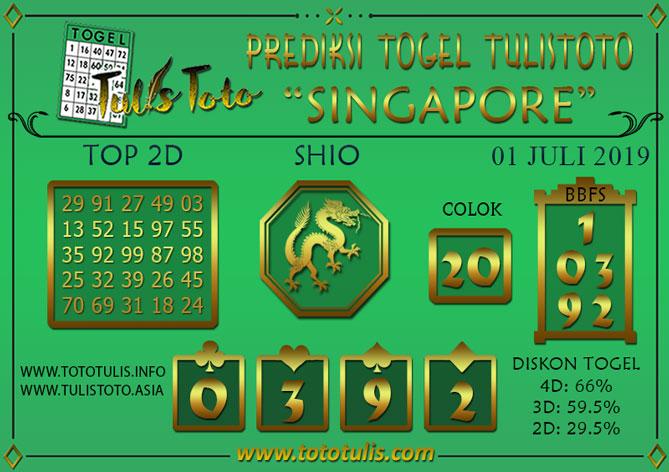 Prediksi Togel SINGAPORE TULISTOTO 01 JULI 2019