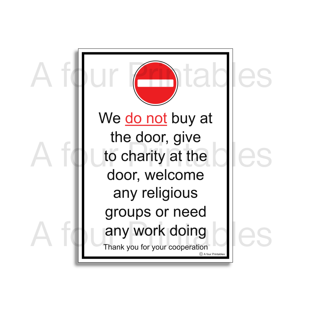 Cold callers, charity and religious groups, No entry front door sign sample print from A four Printables.