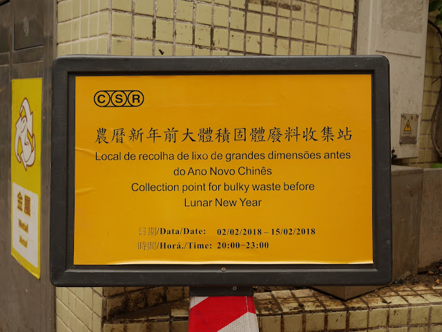 """Collection point for bulky waste before Lunar New Year"" sign"